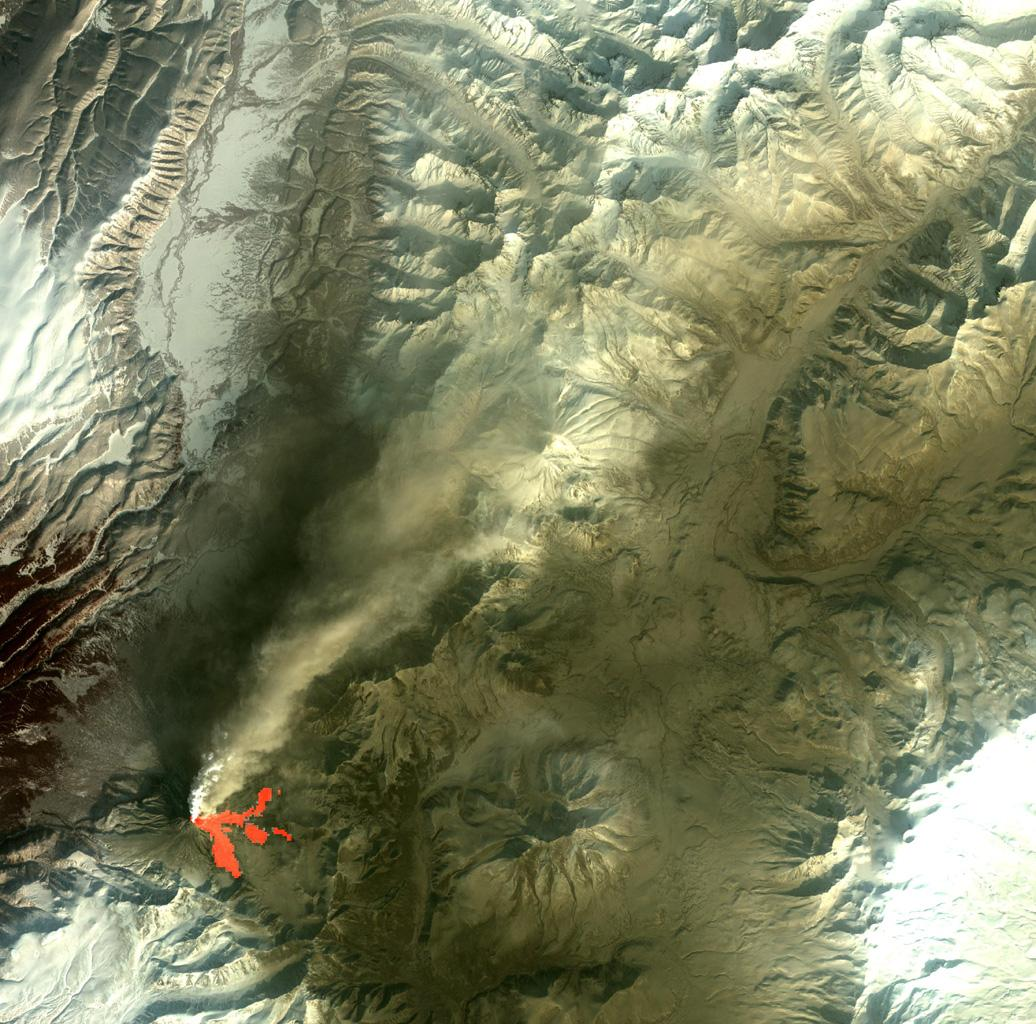 On Feb. 25, 2011, NASA's Terra spacecraft captured this image of a large ash-laden eruption plume drifting towards the northeast from Kizimen volcano, an isolated stratovolcano, in Kamchatka, Russia.