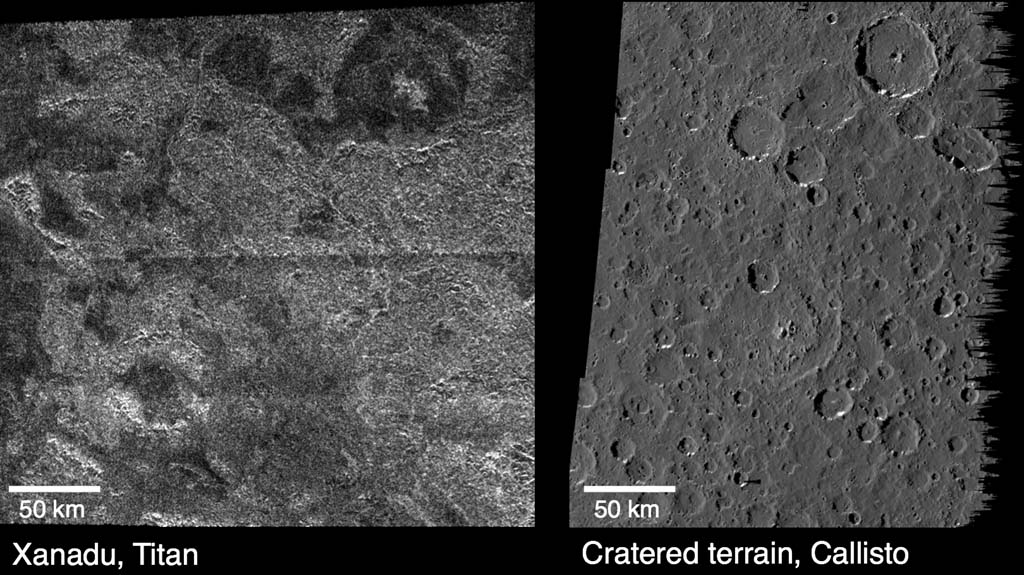 These images compare surface features observed by NASA's Cassini spacecraft at the Xanadu region on Saturn's moon Titan (left), and features observed by NASA's Galileo spacecraft on Jupiter's cratered moon Callisto (right).