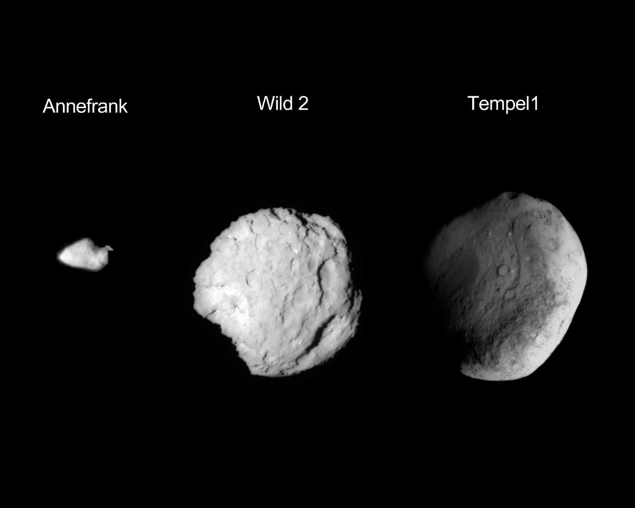 This composite image shows the three small worlds NASA's Stardust spacecraft encountered during its 12 year mission. Stardust performed a flyby of asteroid Annefrank in 2002, Comet Wild in 2004, and Tempel 1 in 2011.