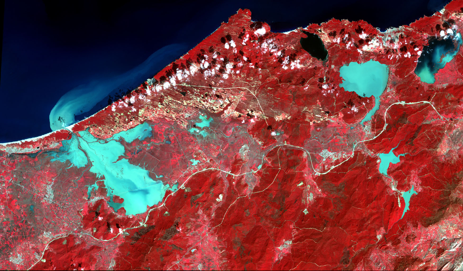 Extremely heavy rains fell at the end of February 2012 in the northern Algerian province of El Tarf, near the Tunisian border. The rainfall total was the greatest recorded in the last 30 years. This image is from NASA's Terra spacecraft.