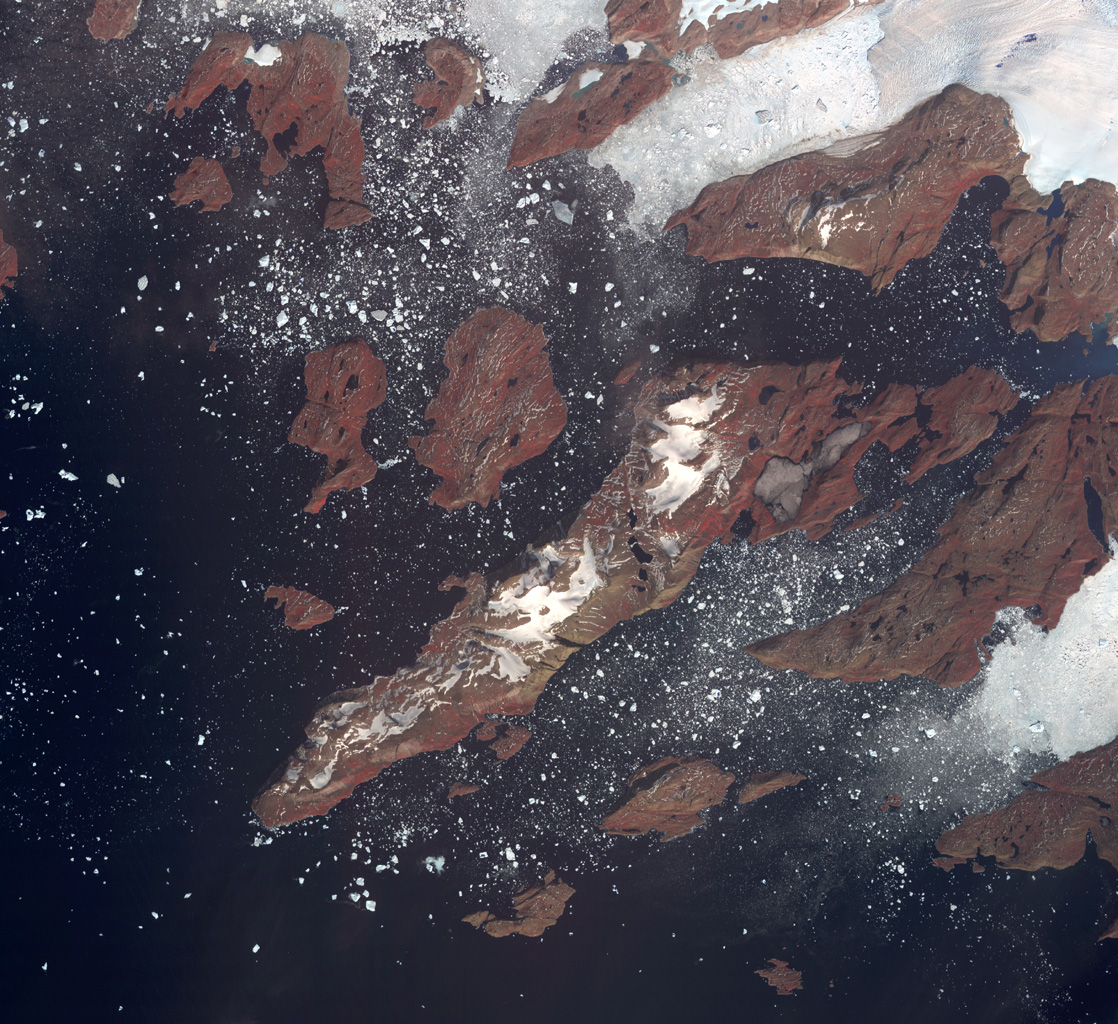 Acquired by NASA's Terra spacecraft, this image shows the west coast of Greenland, one of Earth's premiere incubators for icebergs -- large blocks of land ice that break off from glaciers or ice shelves and float in the ocean.