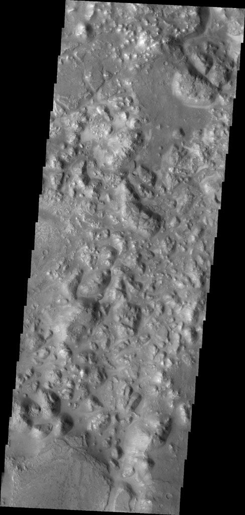 Areas of blocky terrain are common in Morava Valles. The blocks are termed chaos and are near the beginning of the valley system as seen in this image from NASA's Mars Odyssey.