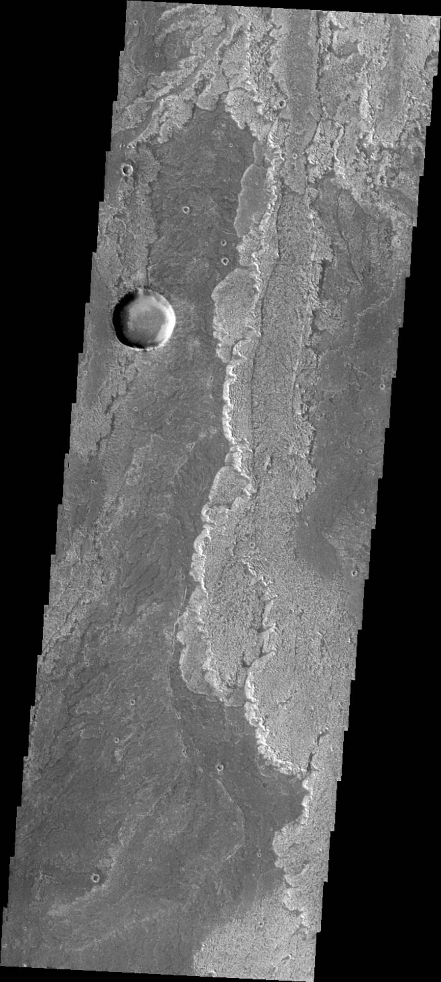 Some of the most pristine volcanic flows on Mars are from Arsia Mons as shown in this image captured by NASA's Mars Odyssey.