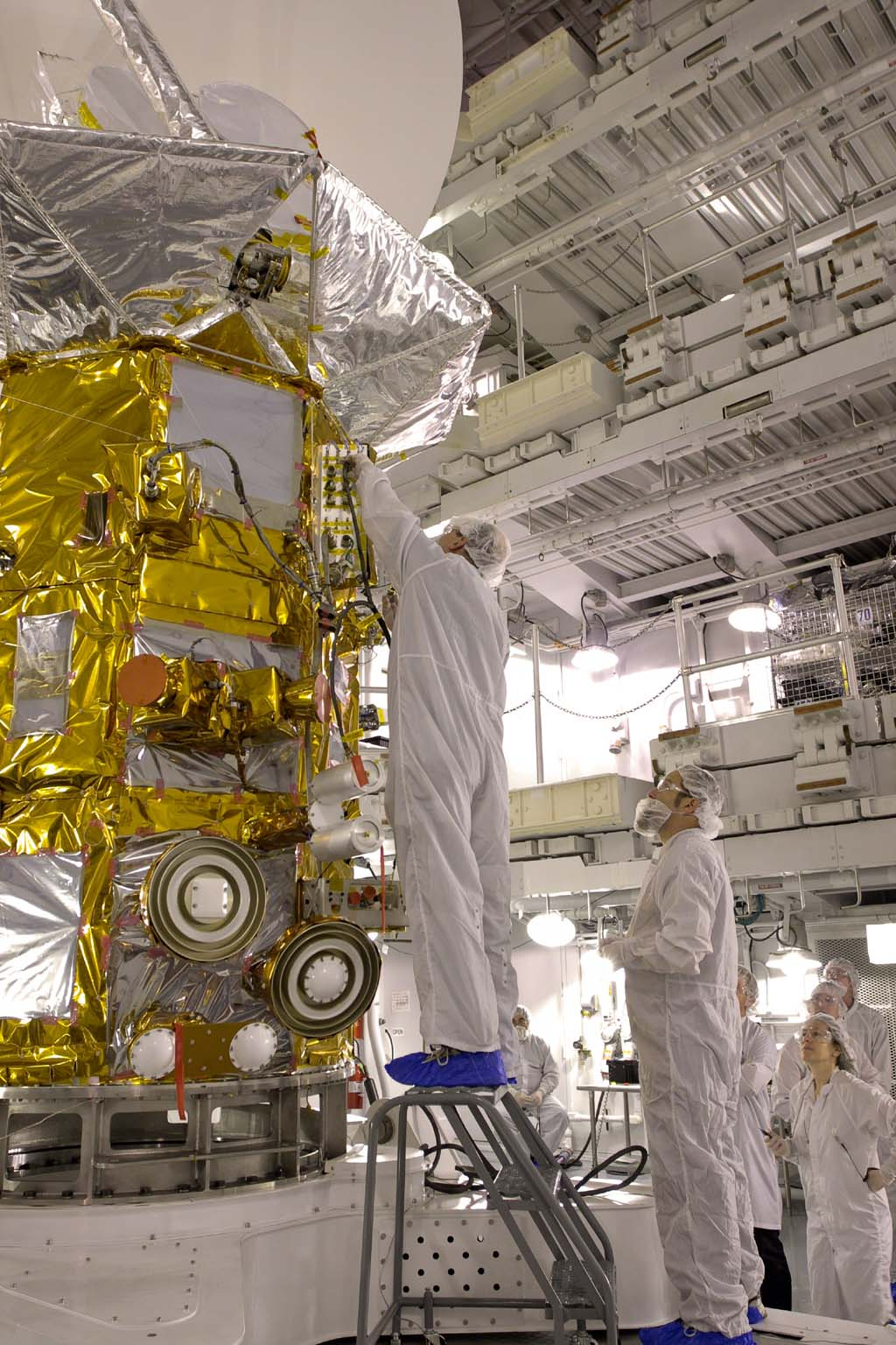 Less than two months before launch, team members conduct their final checks of NASA's Aquarius instrument at Vandenberg Air Force Base, Calif. Subsequent final instrument tests will be conducted on the launch pad.