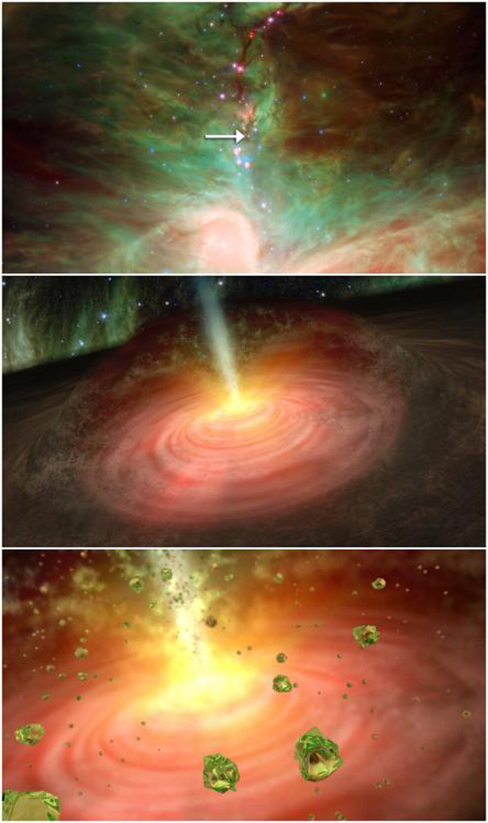 This graphic illustrates a stellar fountain of crystal rain, beginning with a NASA Spitzer picture of the star in question, and ending with an artist's concept of what the crystal 'rain' might look like.