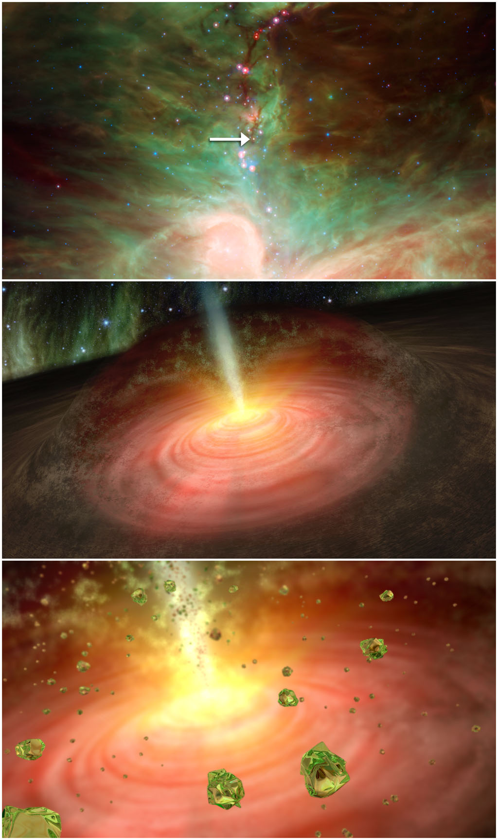 Using NASA's Spitzer Space Telescope, astronomers have, for the first time, found signatures of silicate crystals around a newly forming protostar in the constellation of Orion.
