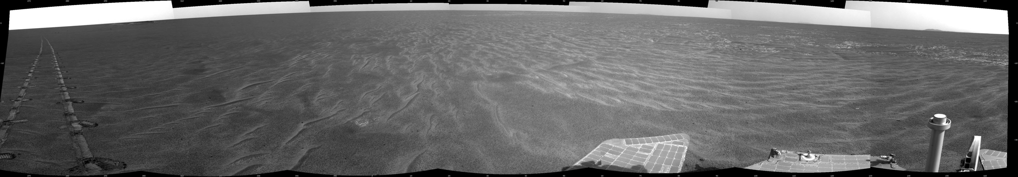 A dance-step pattern is visible in the wheel tracks near the left edge of this scene recorded by NASA's Mars Exploration Rover Opportunity on Mars on April 1, 2011.