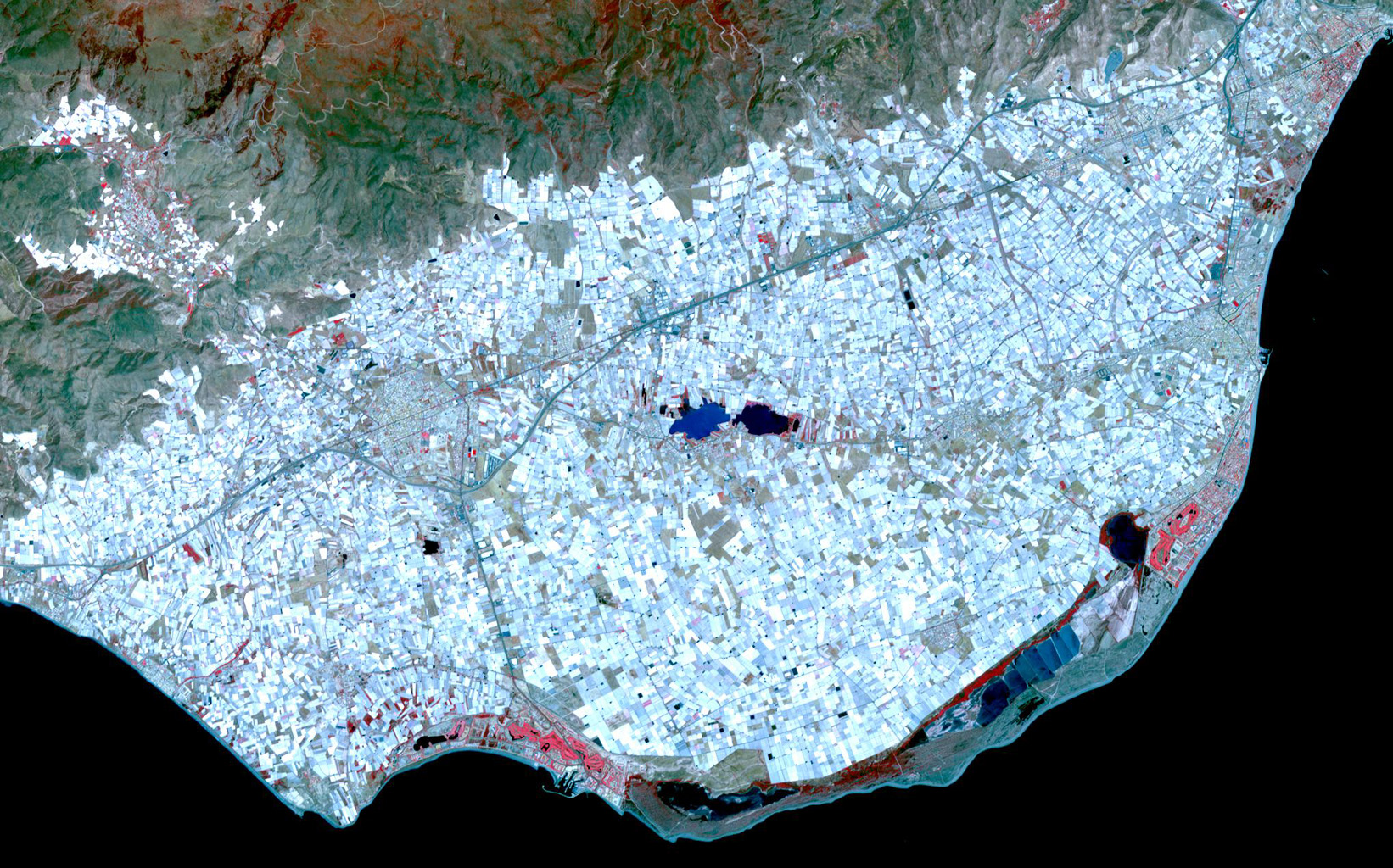 Surrounding the town of El Ejido, Almeria Province, southern Spain is a sea of greenhouses, stretching for tens of kilometers as shown in this image from NASA's Terra spacecraft.