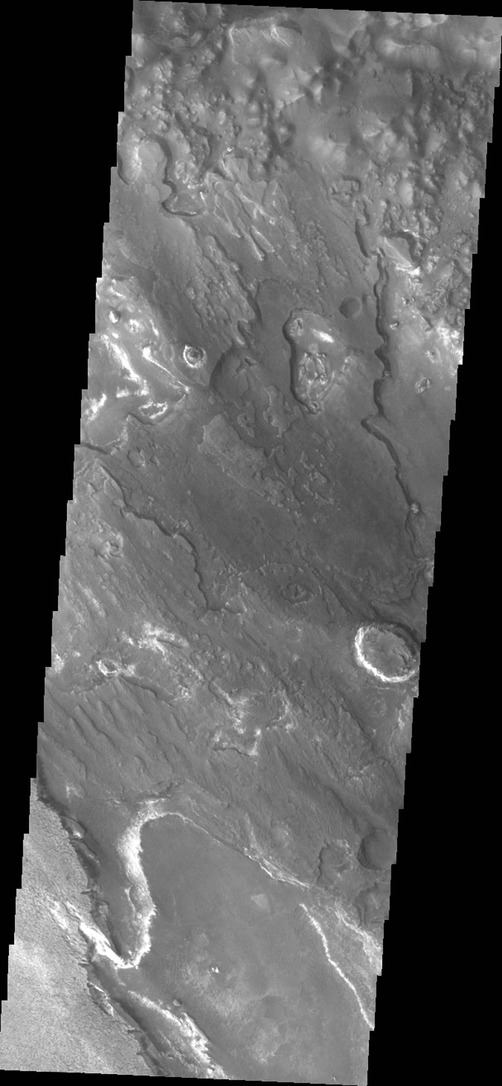 This image captured by NASA's 2001 Mars Odyssey shows a portion of Aram Chaos.