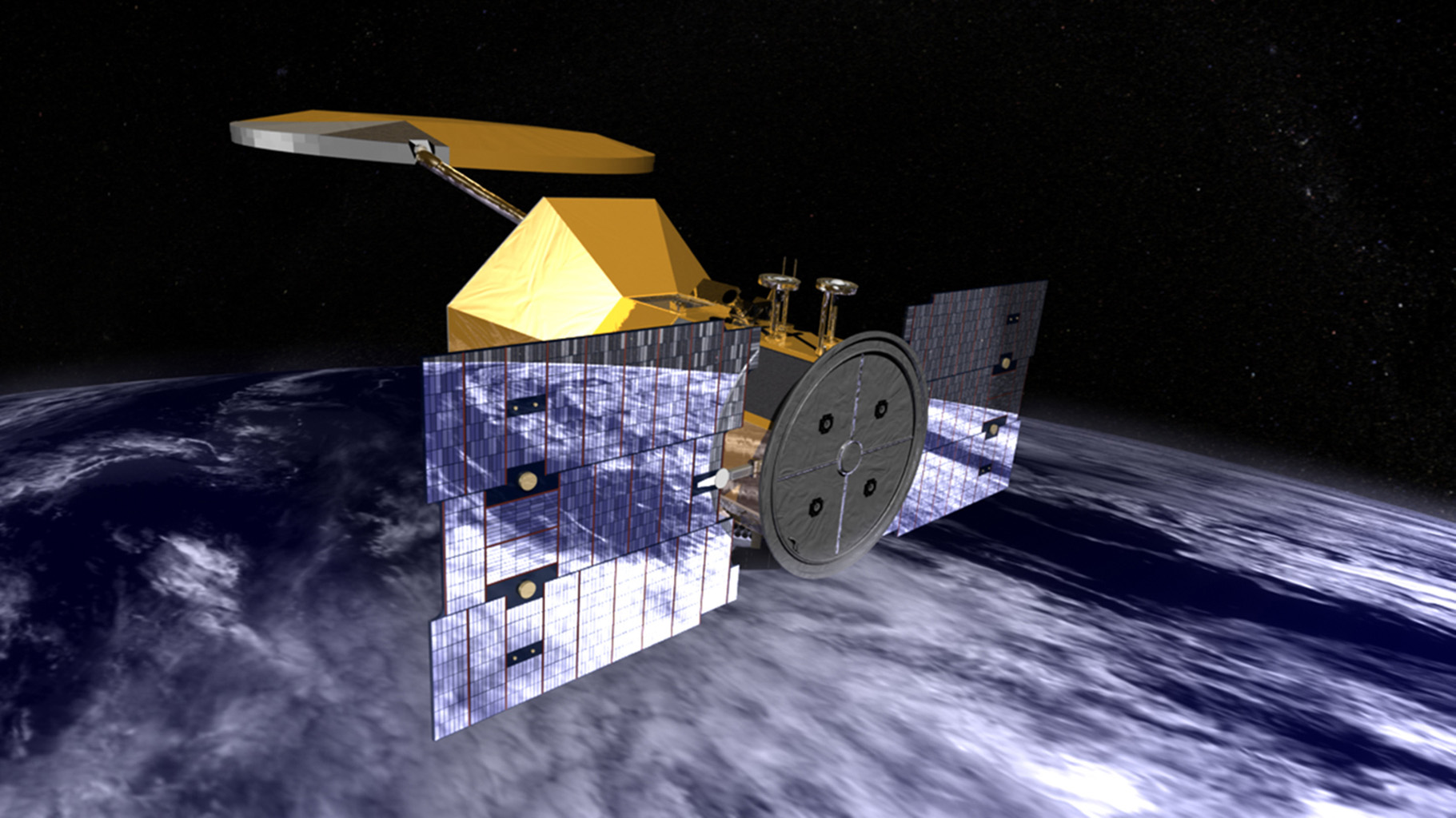 Artist's concept of NASA's Aquarius/SAC-D observatory. SAC-D observatory will provide NASA's first space-based global measurements of salinity at the ocean surface.