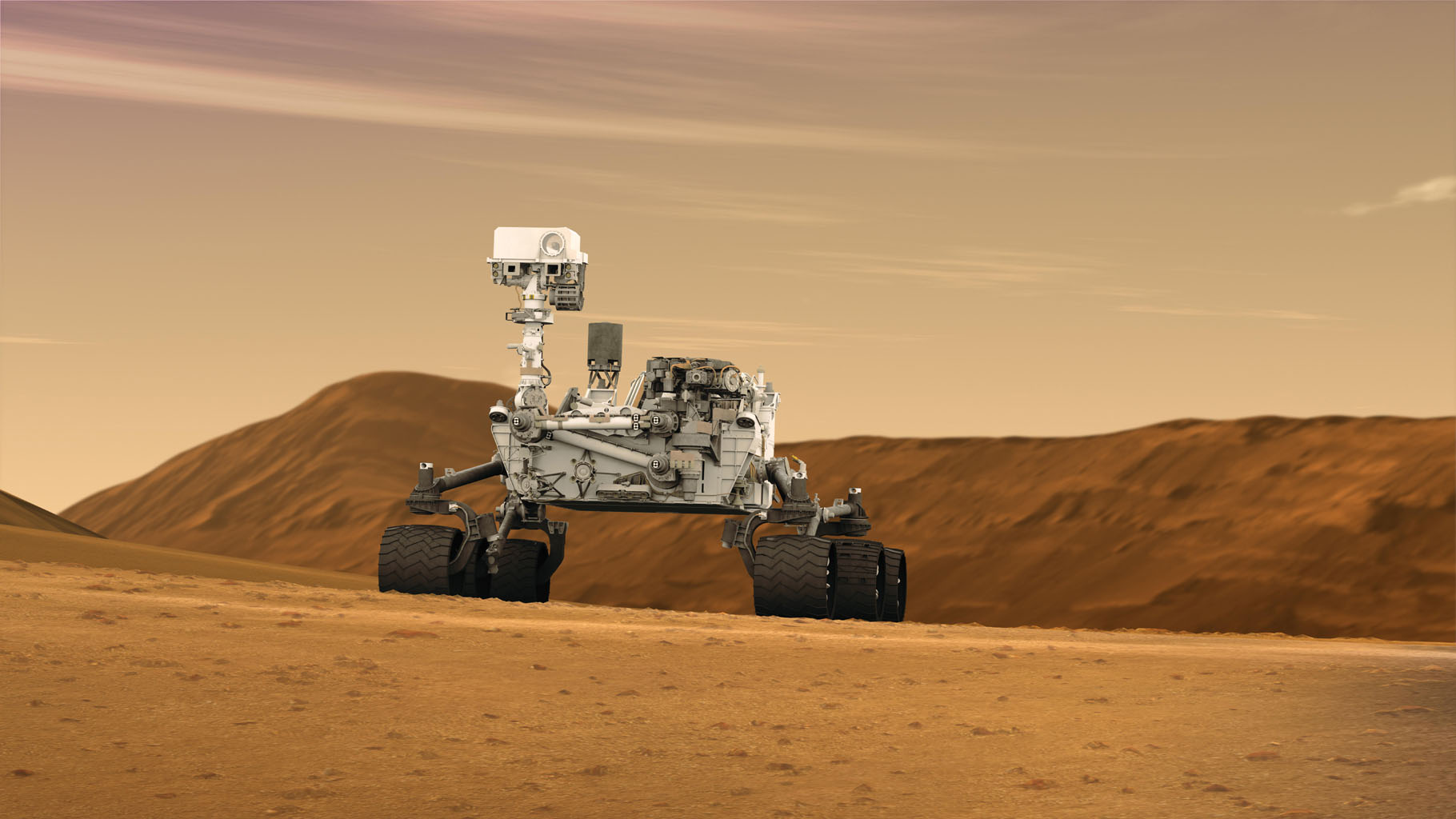 This artist concept features NASA's Mars Science Laboratory Curiosity rover, a mobile robot for investigating Mars' past or present ability to sustain microbial life. Curiosity is being tested in preparation for launch in the fall of 2011.