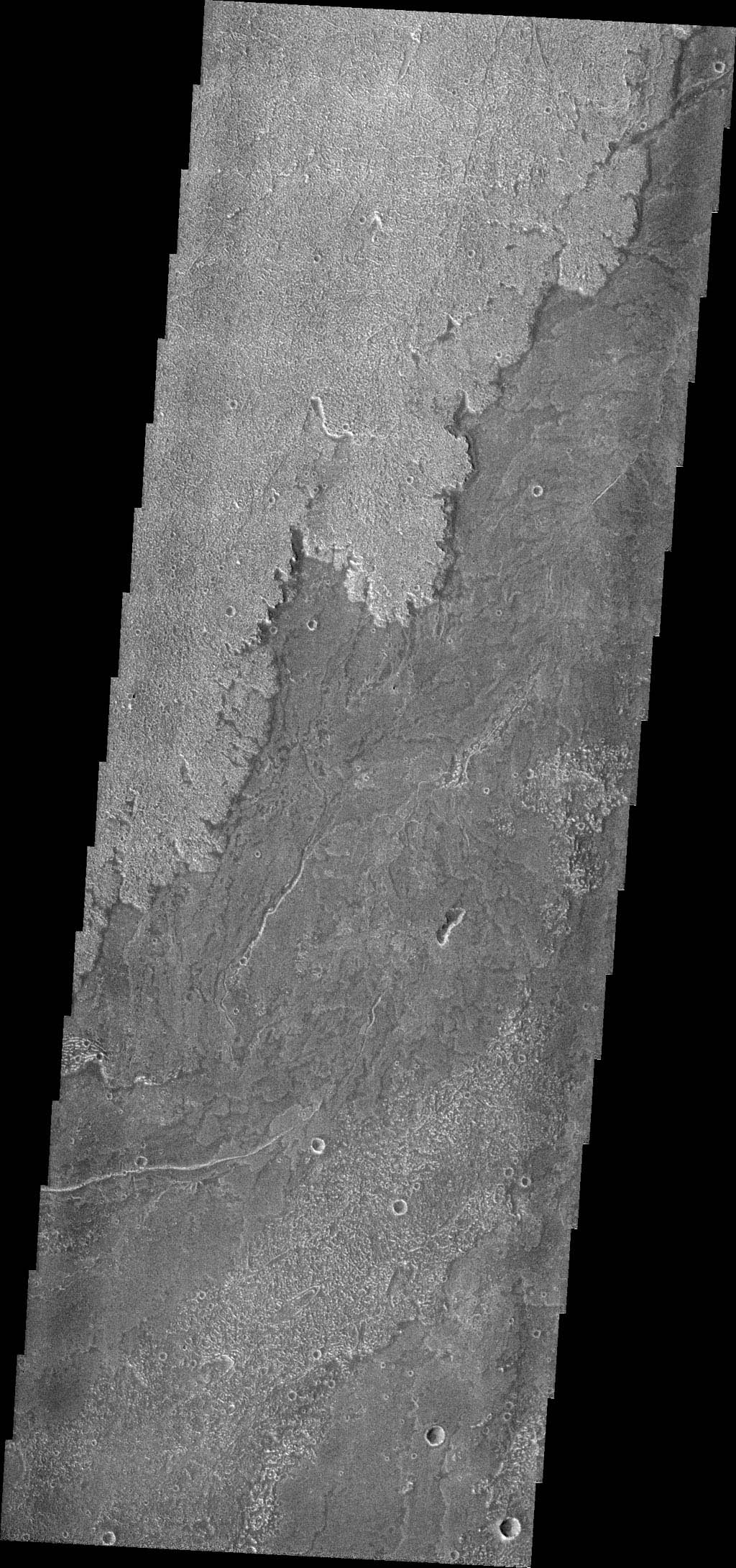 Innumerable lava flows from Arsia Mons make up the volcanic plains called Daedalia Planum as seen by NASA's 2001 Mars Odyssey.