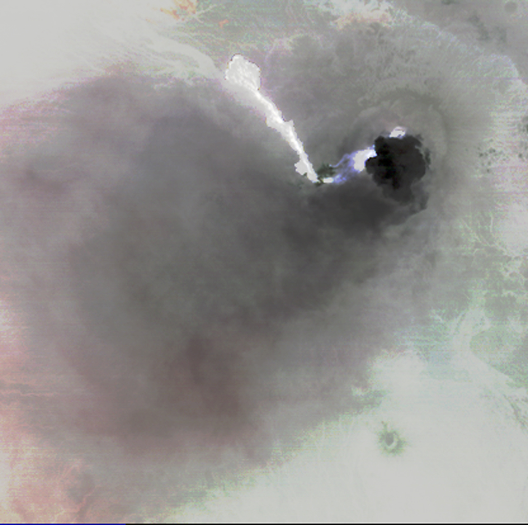 Nabro volcano, Eritrea, in the Horn of Africa, began erupting June 12, 2011, the first-ever recorded eruption of this stratovolcano. This image was acquired by NASA's Terra spacecraft on June 19, 2011.