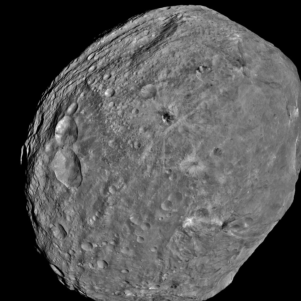 NASA's Dawn spacecraft obtained this image of the giant asteroid Vesta with its framing camera on July 24, 2011. Dawn entered orbit around Vesta on July 15, and will spend a year orbiting the body.