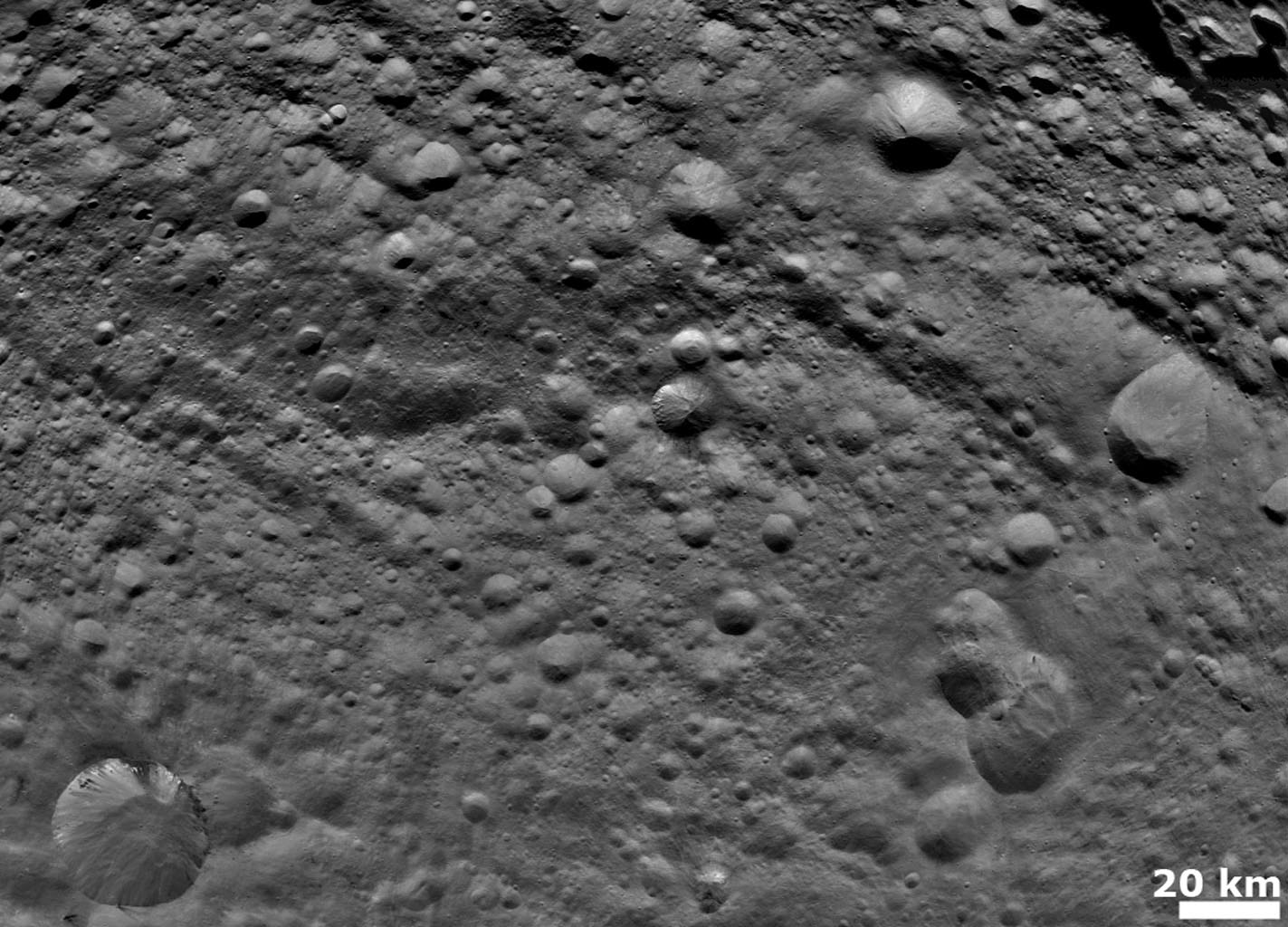 NASA's Dawn spacecraft obtained this image with its framing camera on August 6, 2011. Old and heavily cratered terrain is shown on Vesta. The framing camera has a resolution about 280 yards (260 meters) per pixel.