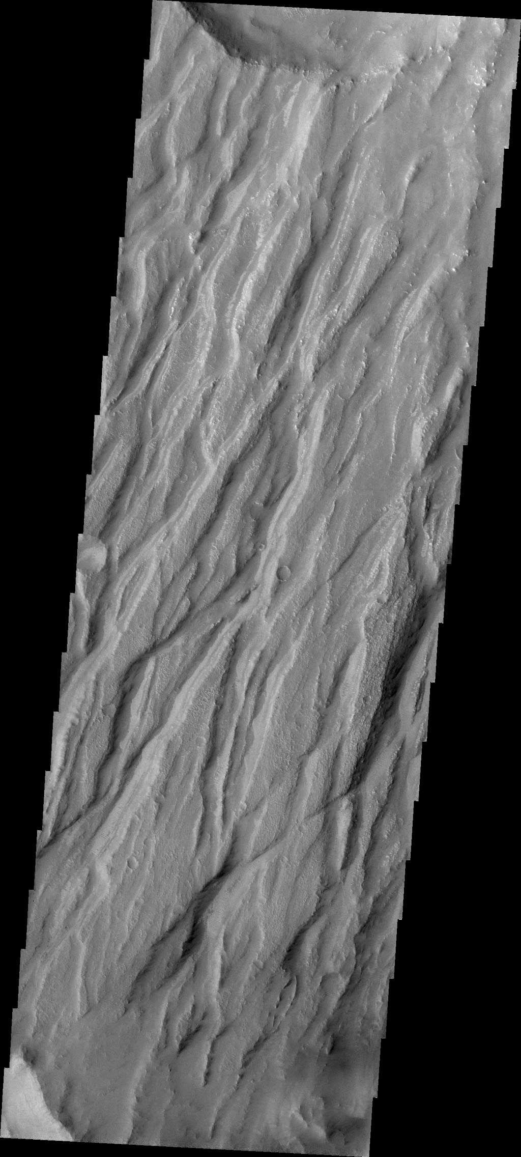 Claritas Fossae is the dissected and fractured highland between the volcanic plains of Daedalia and Solis Planums. This image is from NASA's 2001 Mars Odyssey spacecraft.