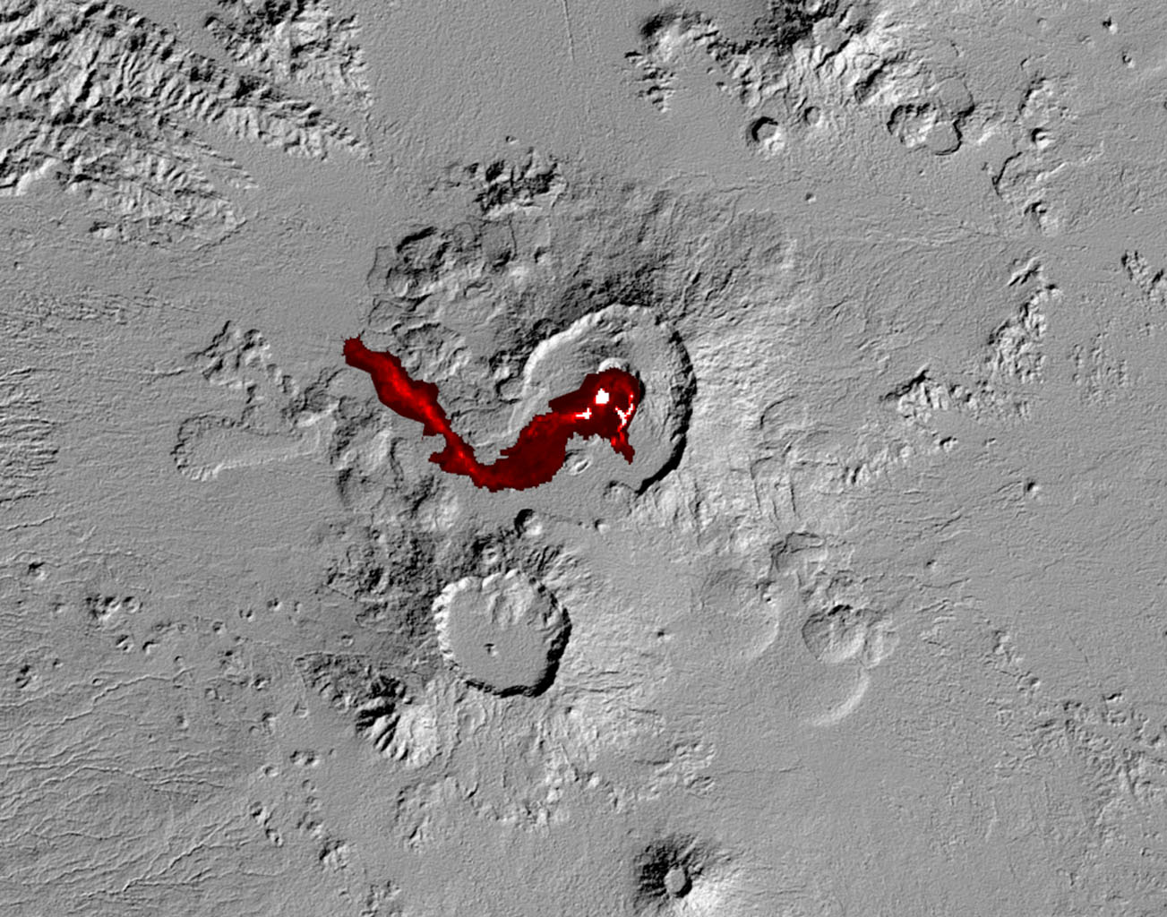 Nabro volcano in the African nation of Eritrea began erupting June 12, 2011, the first-ever recorded eruption of this stratovolcano. This image was acquired by NASA's Terra spacecraft on July 5, 2011.