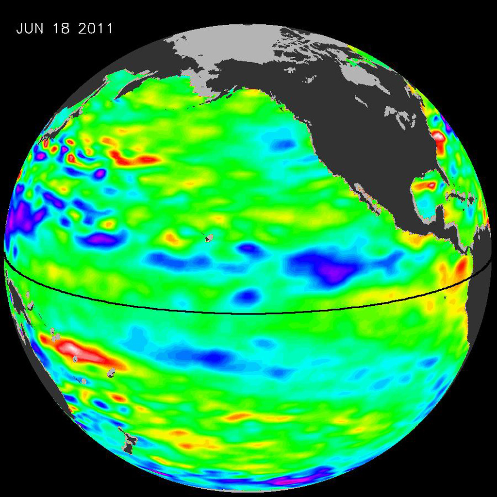 The latest image of Pacific Ocean sea surface heights from the NASA's OSTIM/Jason-2 oceanography satellite, on June 11, 2010, shows that Pacific has switched from warm (red) to cold (blue) during the last few months.