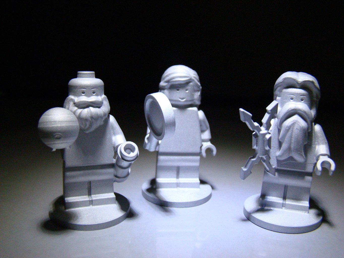 The three LEGO figurines flying aboard the Juno spacecraft are the Roman god Jupiter, his wife Juno and Galileo Galilei.