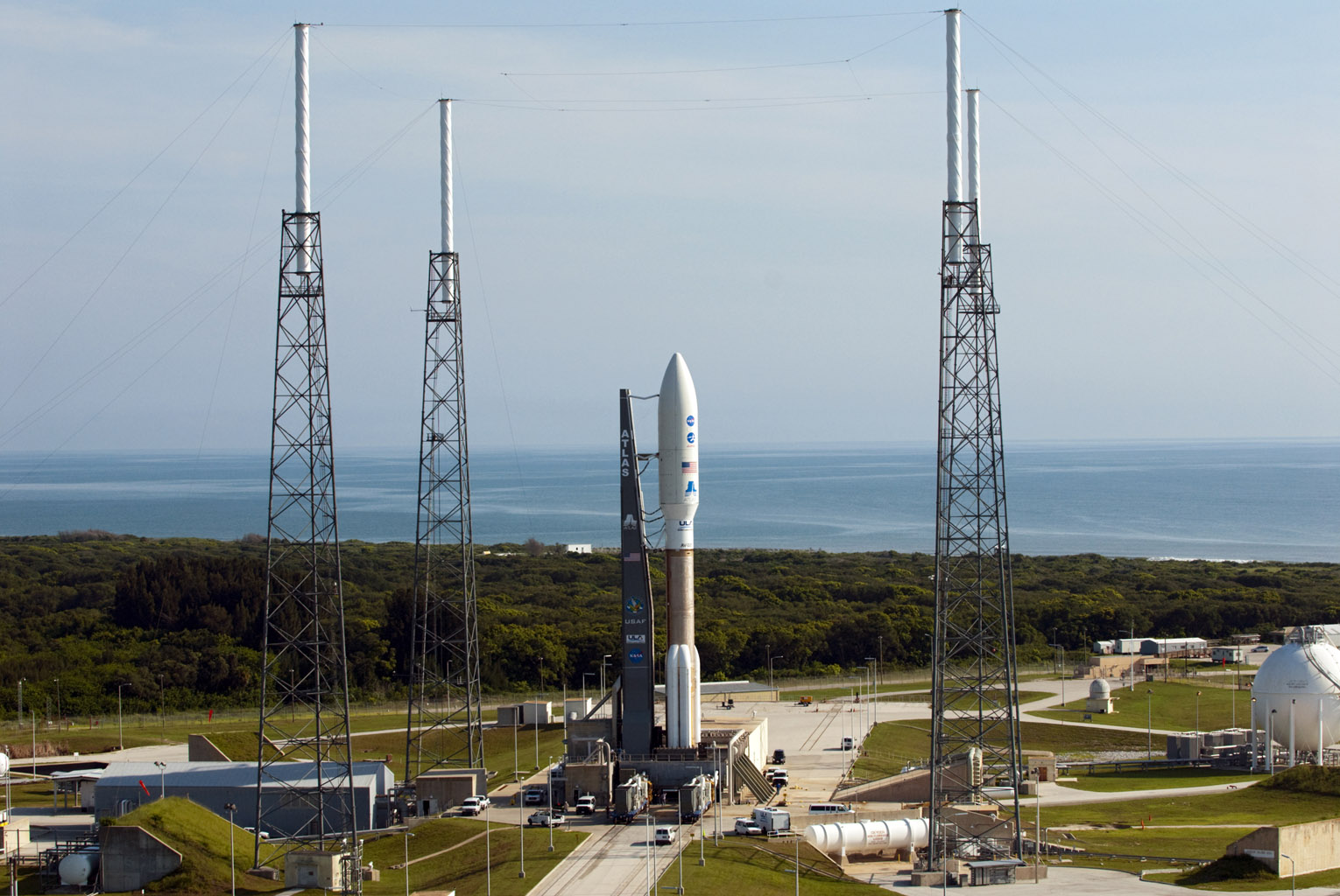 NASA's Juno spacecraft awaits launch from inside the payload fairing atop a United Launch Alliance Atlas V-551 launch vehicle. Juno and its rocket are at Space Launch Complex 41 on Cape Canaveral Air Force Station in Florida.