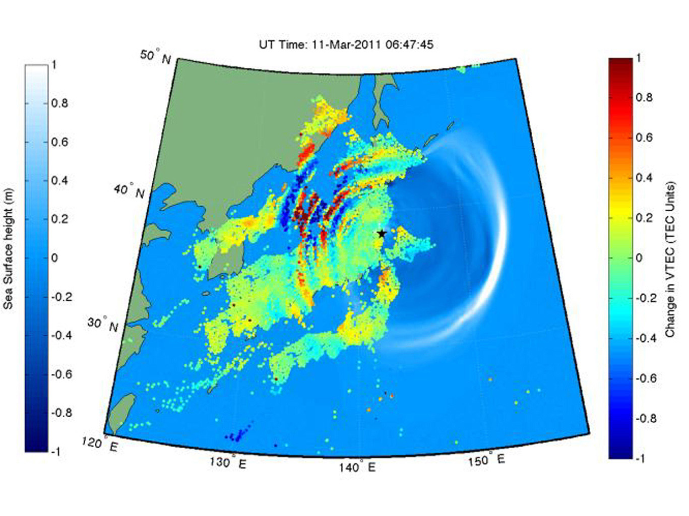 This shows how waves of energy from the Tohoku-Oki earthquake and tsunami of March 11, 2011, pierced through into Earth's upper atmosphere in the vicinity of Japan, disturbing the density of electrons in the ionosphere.