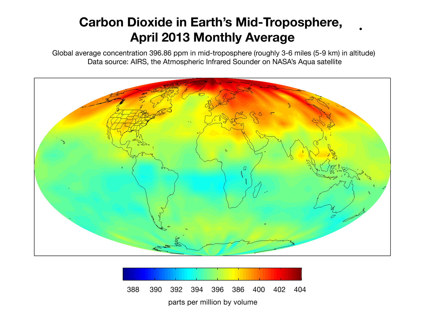 This map created with data from the AIRS on NASA's Aqua satellite shows the concentration of carbon dioxide in Earth's mid-troposphere, located roughly between 3 to 6 miles (5 to 9 kilometers) in altitude.
