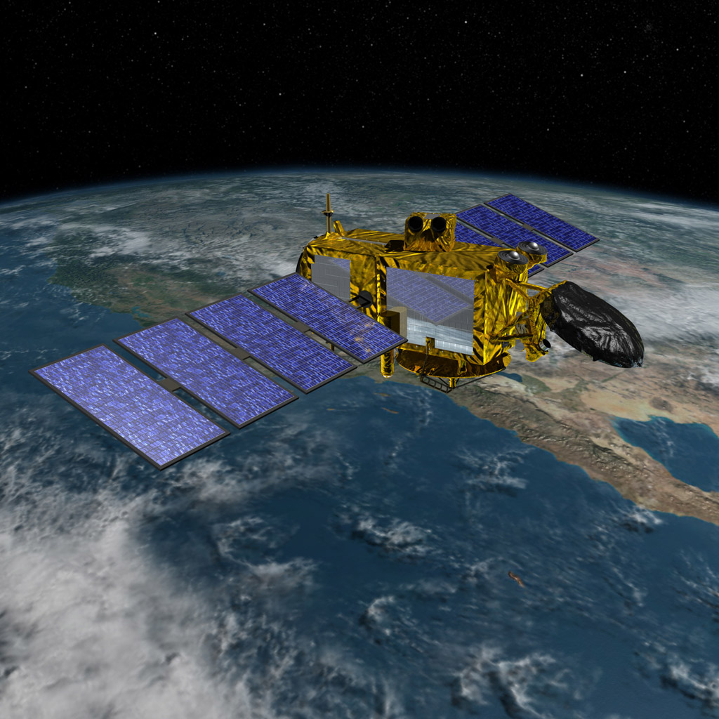 Artist's concept of the U.S.-European Jason-3 spacecraft over the California coast. Jason-3 will precisely measure the height of the ocean surface, allowing scientists to monitor ocean circulation and sea level.