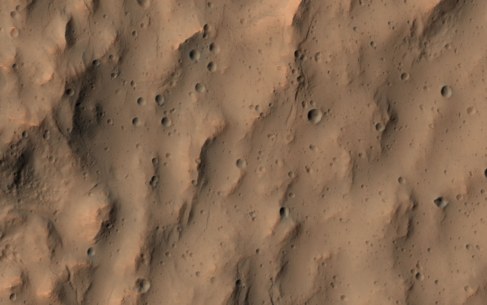 This image of a southern mid-latitude crater was intended to investigate the lineated material on the crater floor. NASA's Mars Reconnaissance Orbiter reveals a landscape peppered by small impact craters.