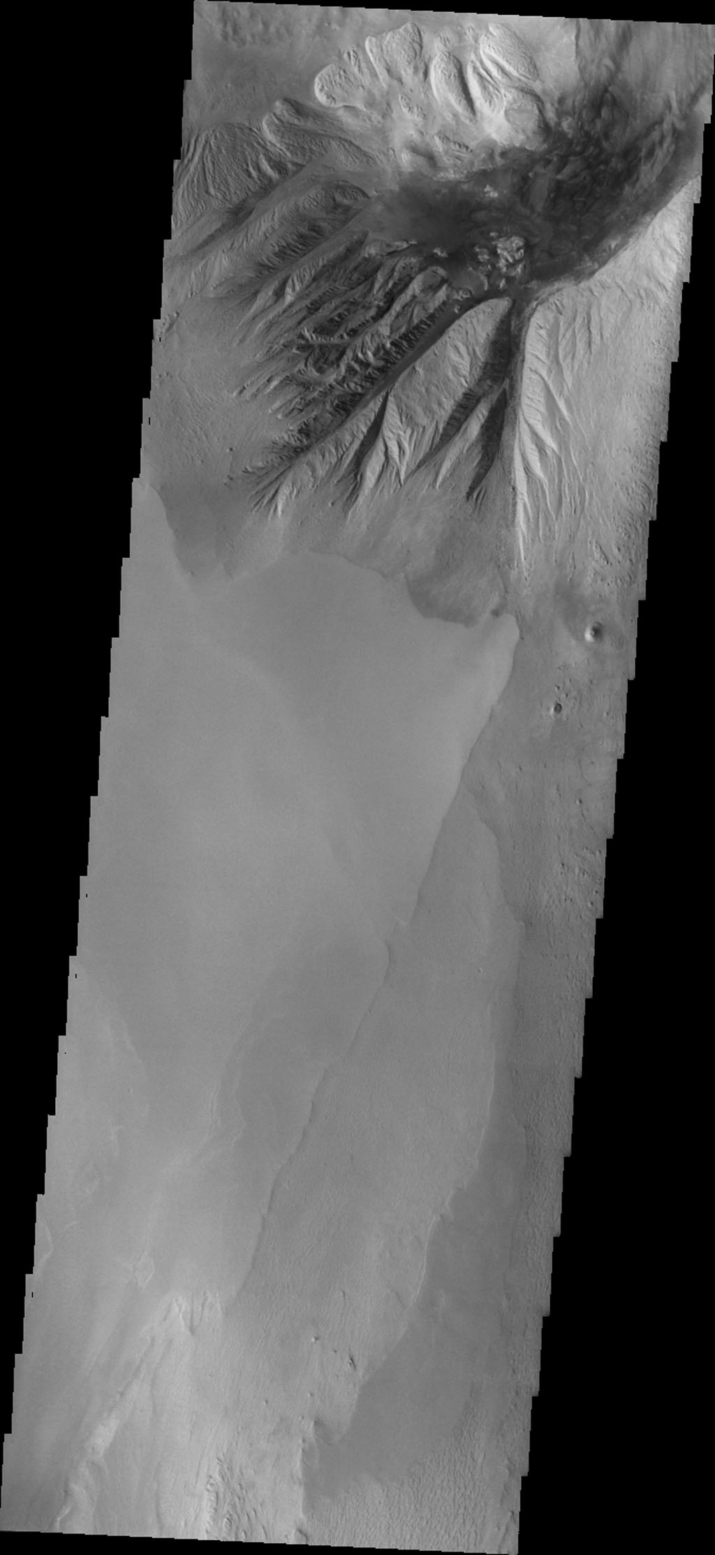This image from NASA's 2001 Mars Odyssey spacecraft shows the northern margin of Beatis Mensa, a large mound of material in the center of Ophir Chasma.