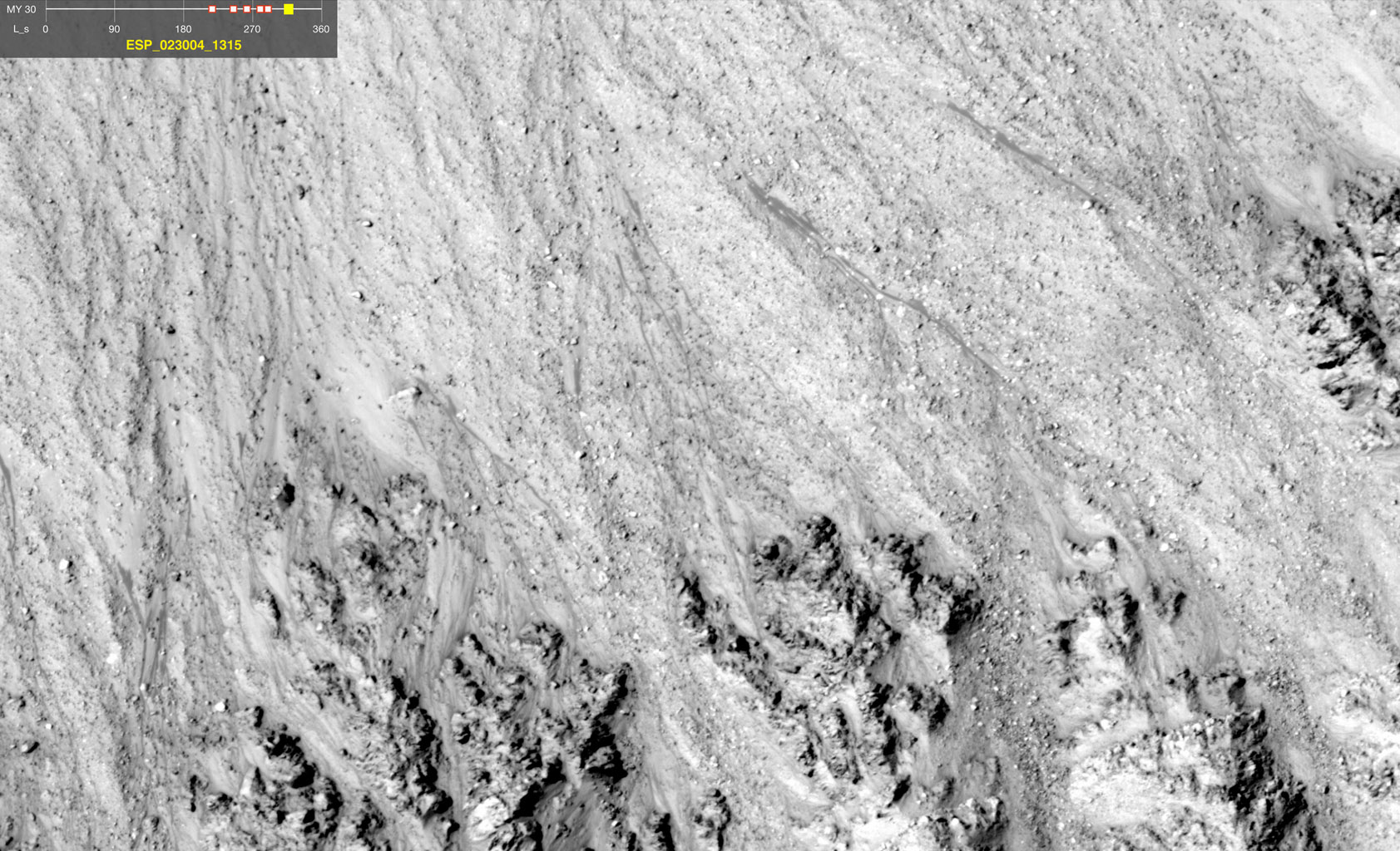 This image comes from observations of a well-preserved crater on Terra Cimmeria by the HiRISE camera onboard NASA's Mars Reconnaissance Orbiter.