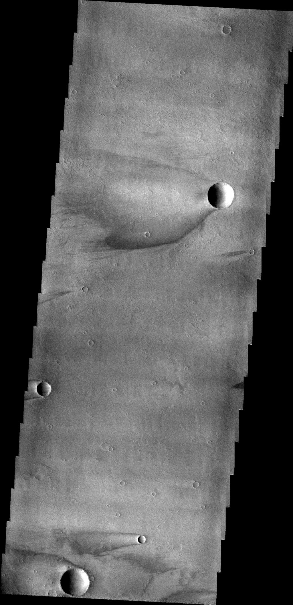 This image captured by NASA's 2001 Mars Odyssey spacecraft show windstreaks found on Daedalia Planum.