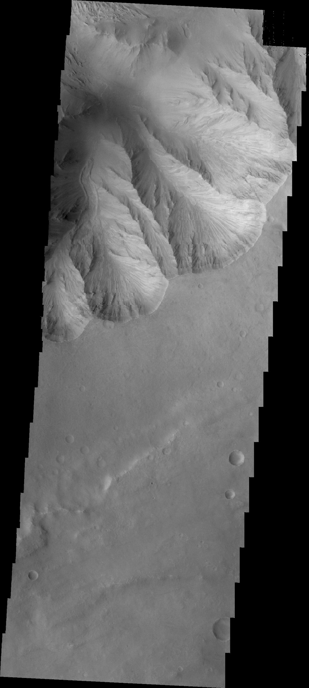 This image from NASA's 2001 Mars Odyssey spacecraft shows a small landslide chute and deposit. This feature is located on the easternmost end of Candor Chasma.