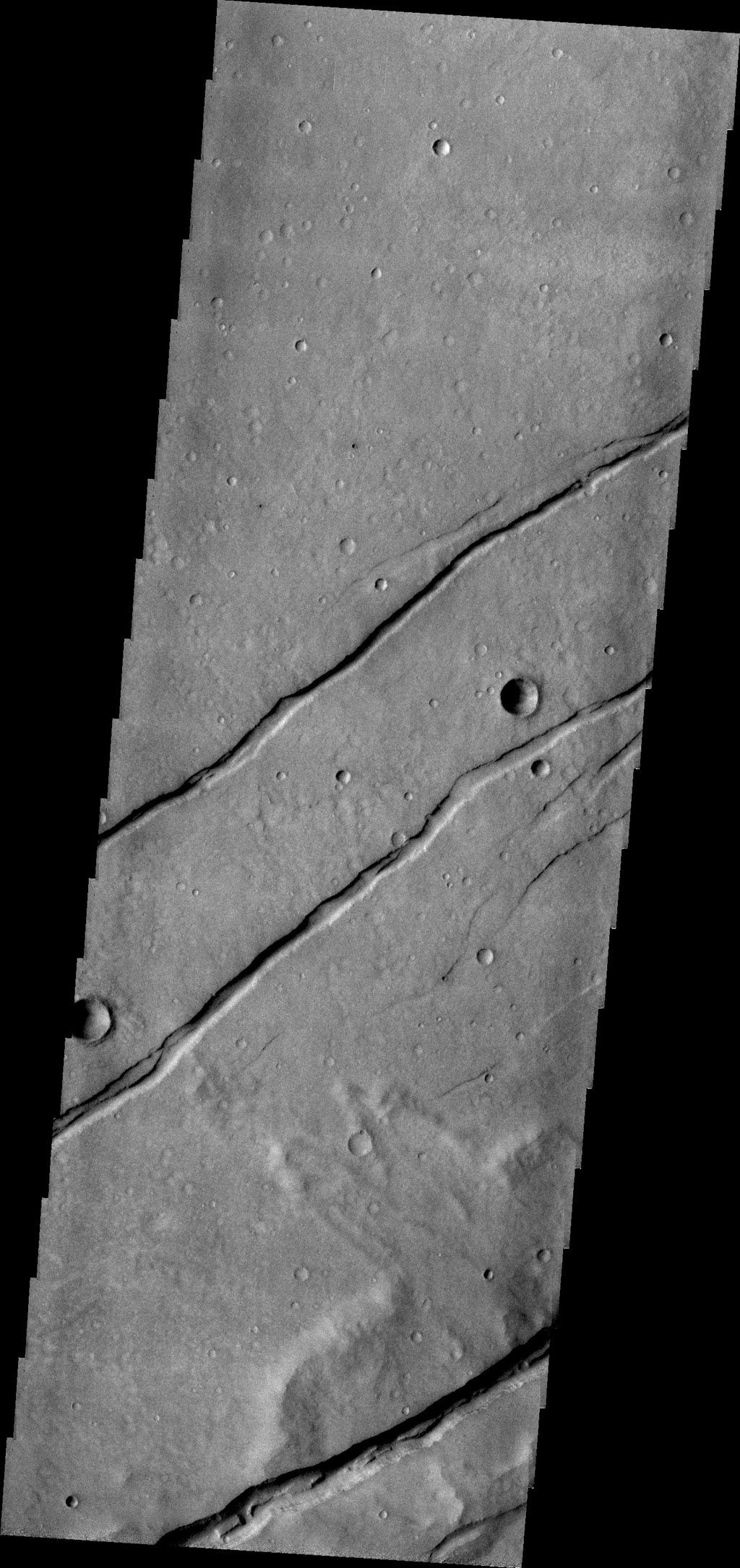Sirenum Fossae is comprised of long, parallel fracture systems, some of which are seen in this image from NASA's 2001 Mars Odyssey spacecraft.