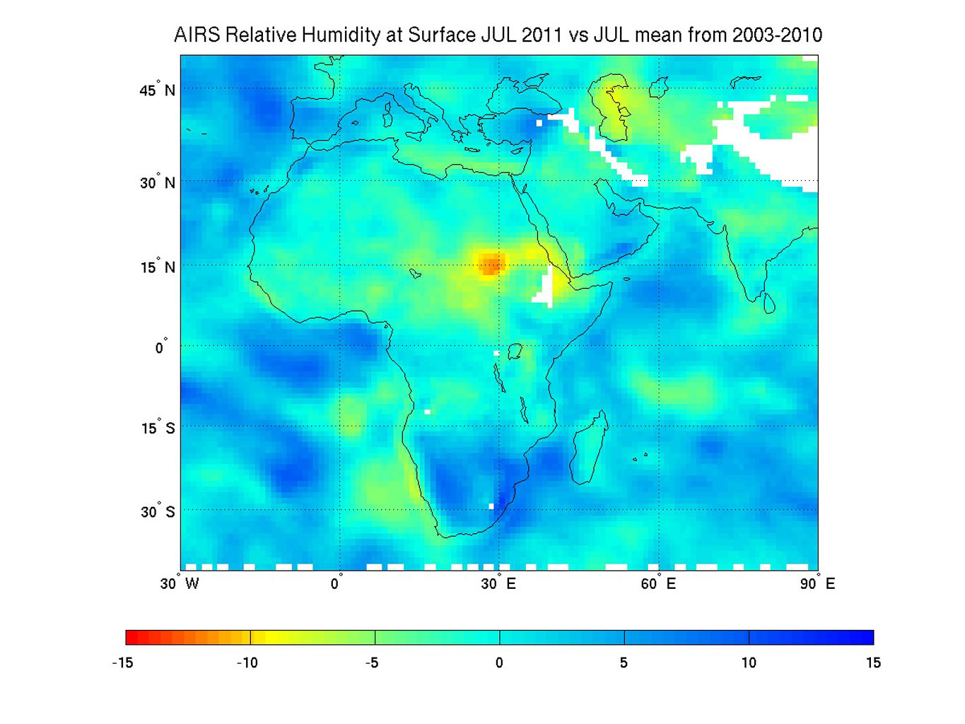 Surface relative humidity anomalies in percent, during July 2011 compared to the average surface relative humidity over the previous eight years, as measured by NASA's Aqua instrument AIRS. The driest areas are shown in oranges and reds.