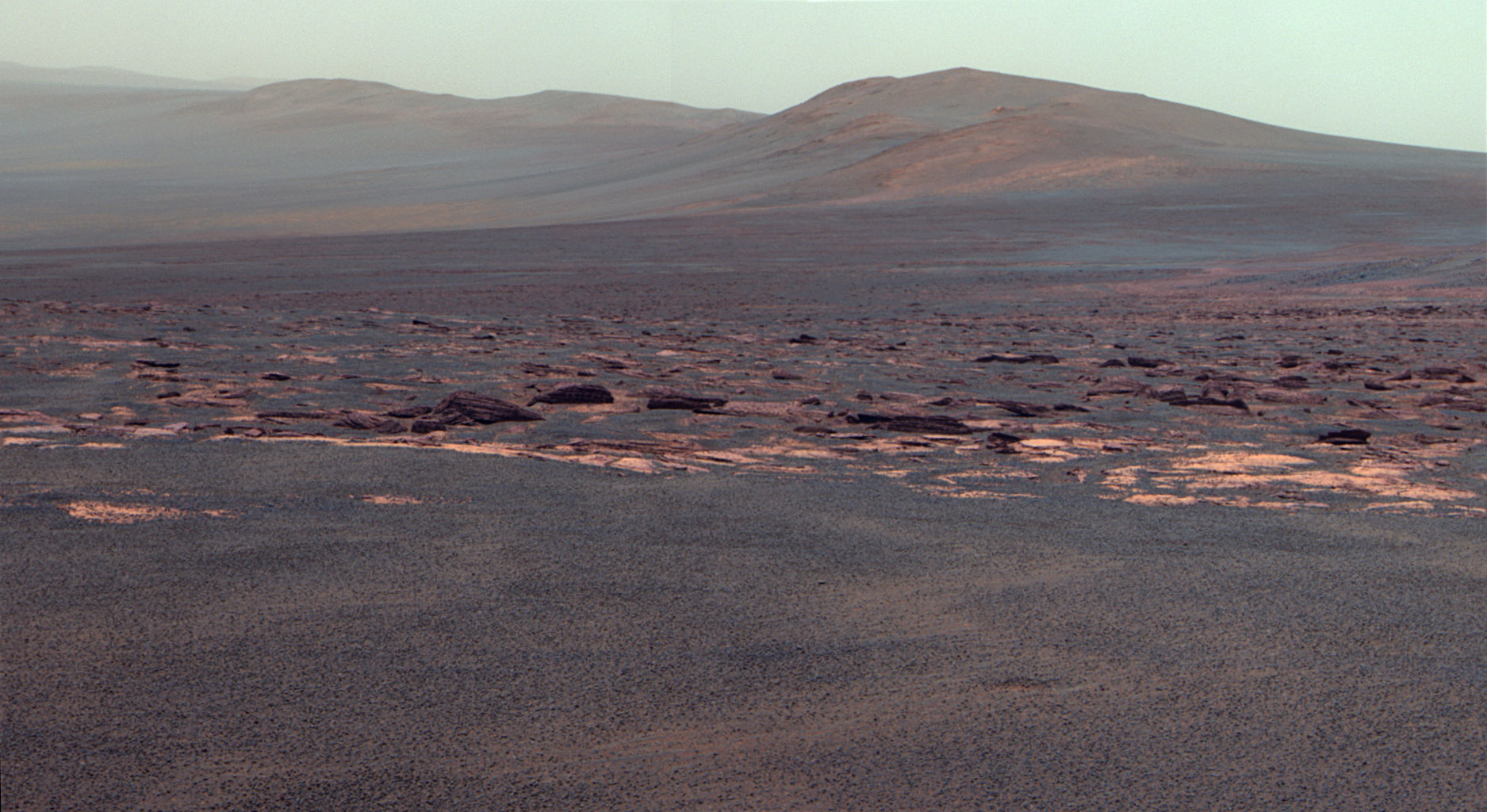 A portion of the west rim of Endeavour crater sweeps southward in this image from NASA's Mars Exploration Rover Opportunity. The view is presented in false color to emphasize differences among materials in the rocks and the soils.