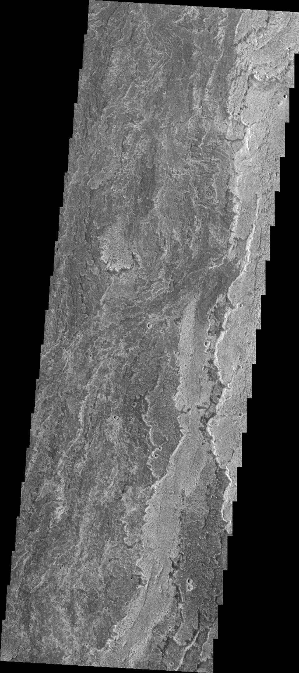 This image from NASA's 2001 Mars Odyssey spacecraft shows lava flows from Arsia Mons.
