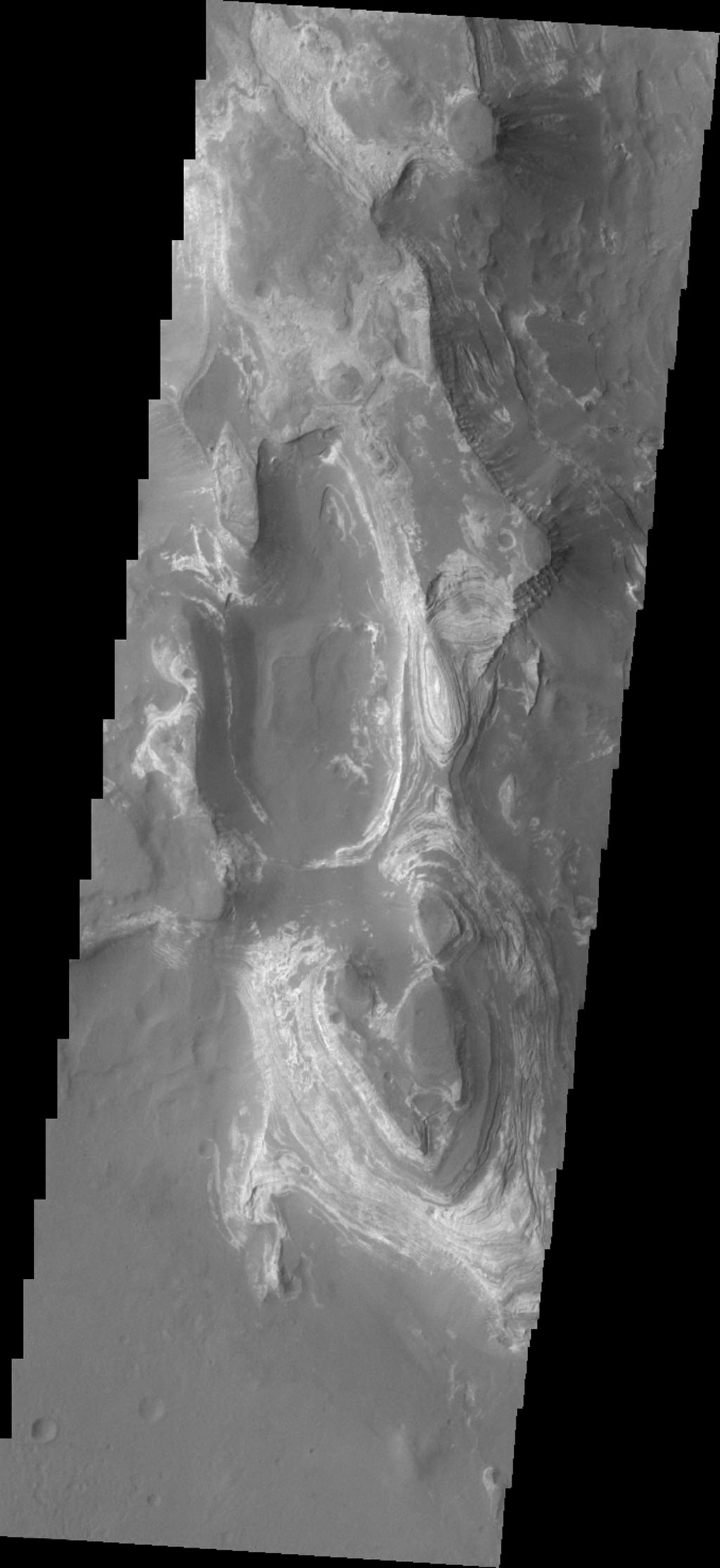 This image shows from NASA's 2001 Mars Odyssey spacecraft some of the layered deposits in Terby Crater.