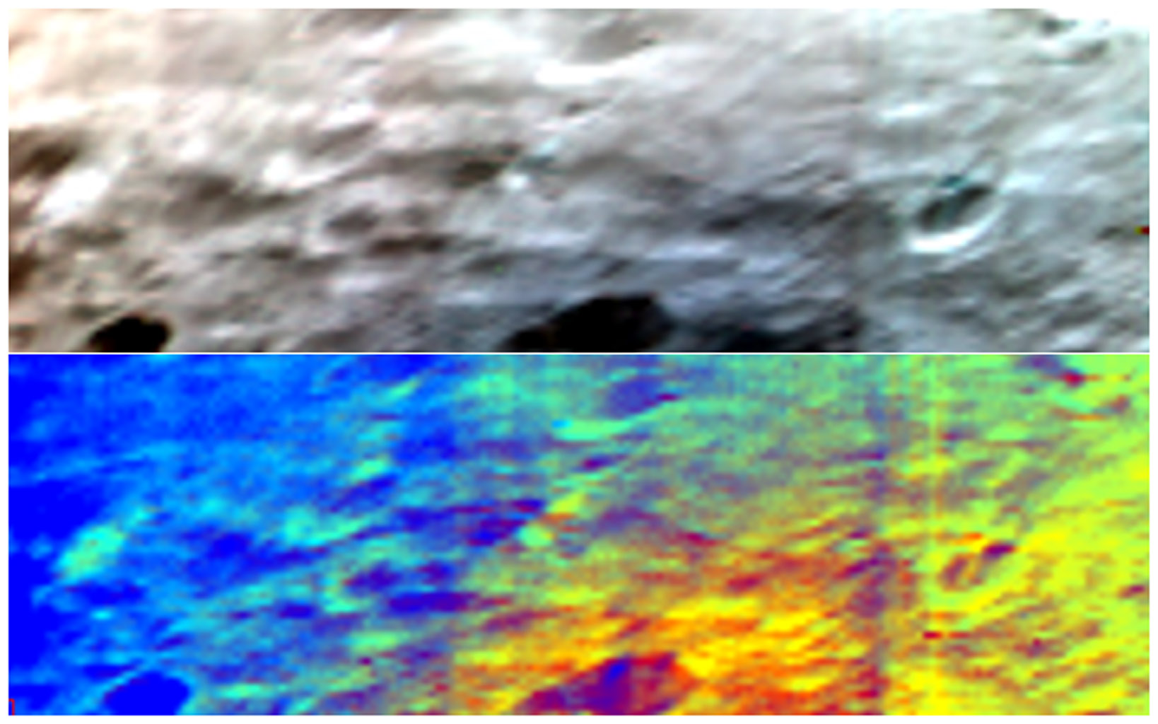 NASA's Dawn spacecraft obtained these images with its visible and infrared instrument of asteroid Vesta. The top image is a simulated true-color picture of the asteroid's surface.