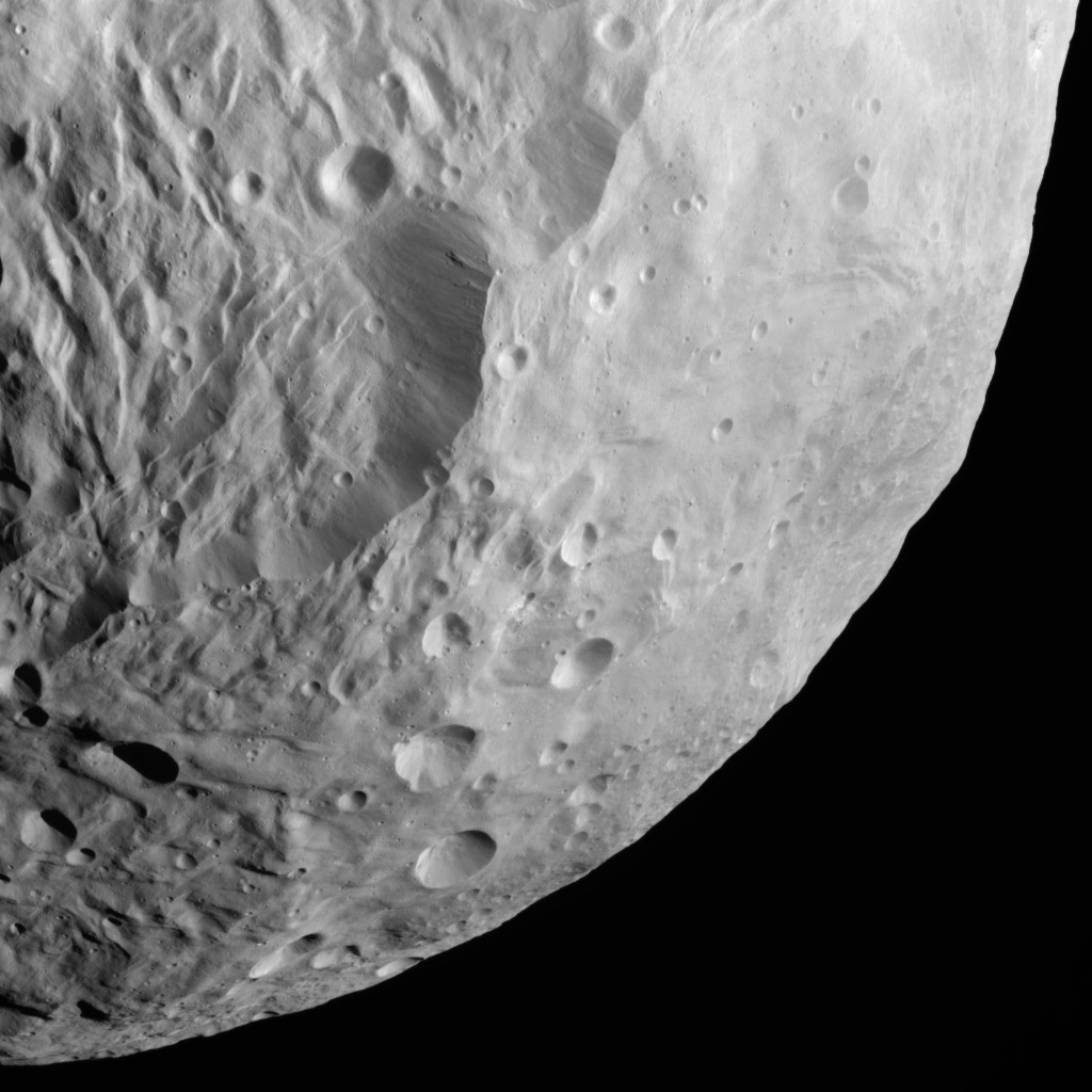 NASA's Dawn spacecraft obtained this image of terrestrial mountains on asteroid Vesta with its framing camera on Aug. 26, 2011. The image has a resolution of about 260 meters per pixel.