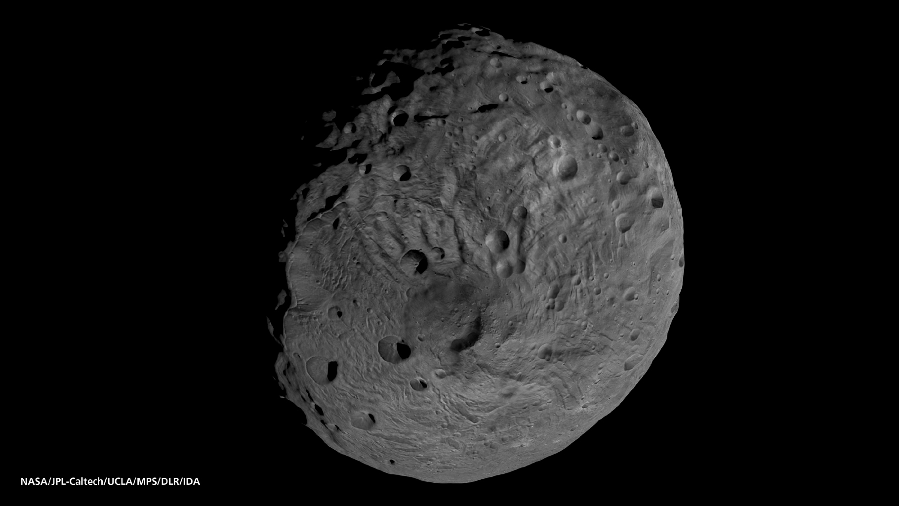 This image obtained by the framing camera on NASA's Dawn spacecraft shows the south pole of the giant asteroid Vesta.