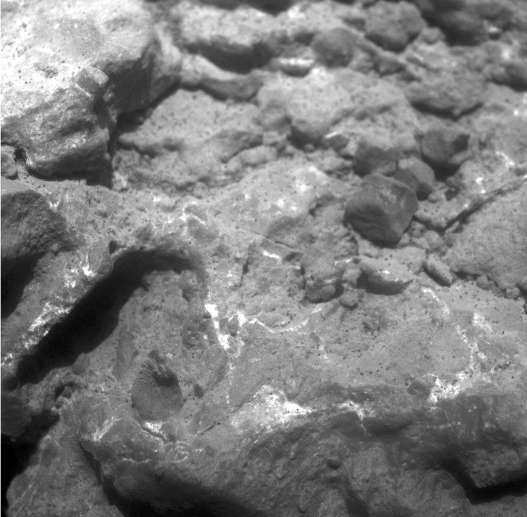 "NASA's Mars Exploration Rover Opportunity used its microscopic imager to record this close-up view of texture on part of a rock informally named ""Tisdale 2"" on the western rim of Endeavour crater. The broken rock fragments are called clasts."