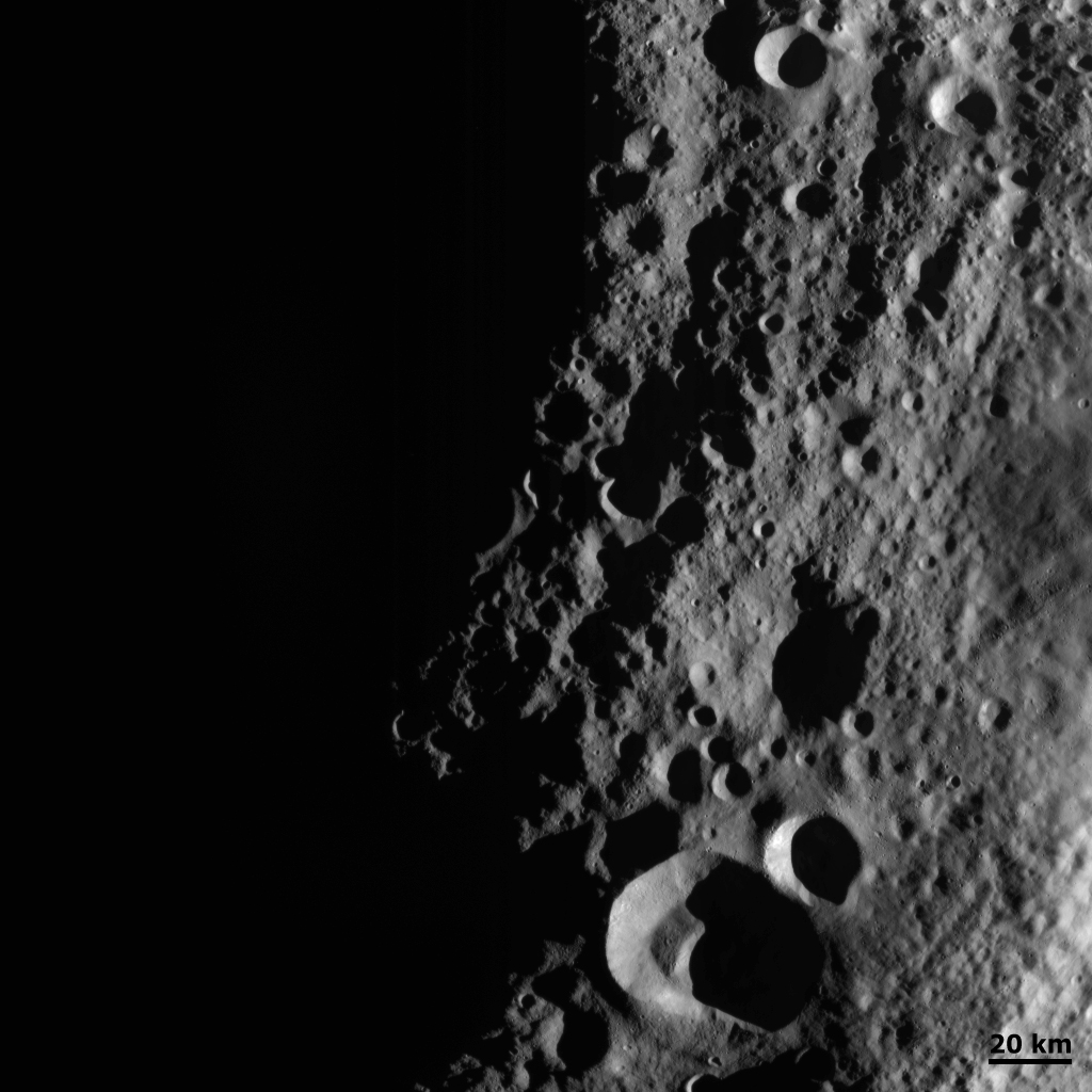 This detail of NASA's Dawn spacecraft's framing camera image shows low sun angles and large shadows on asteroid Vesta.