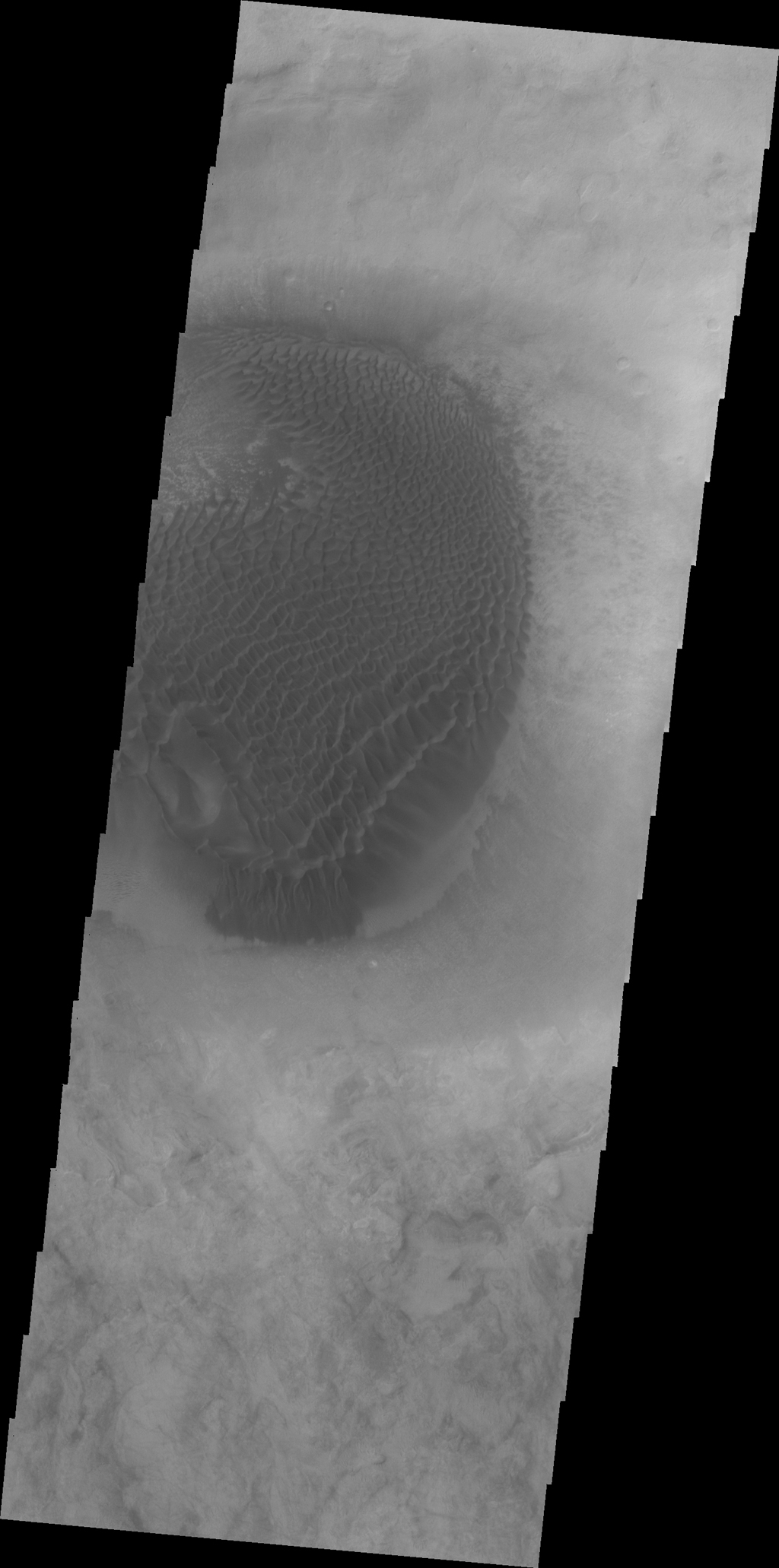 A large mound of sand and dune forms are located on the floor of an unnamed crater south of Rabe Crater in Noachis Terra as seen by NASA's 2001 Mars Odyssey spacecraft.