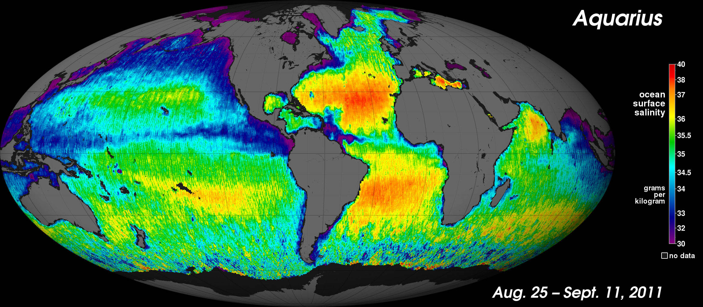 NASA's Aquarius instrument has produced its first global map of the salinity, or saltiness, of Earth's ocean surface, providing an early glimpse of the mission's anticipated discoveries.