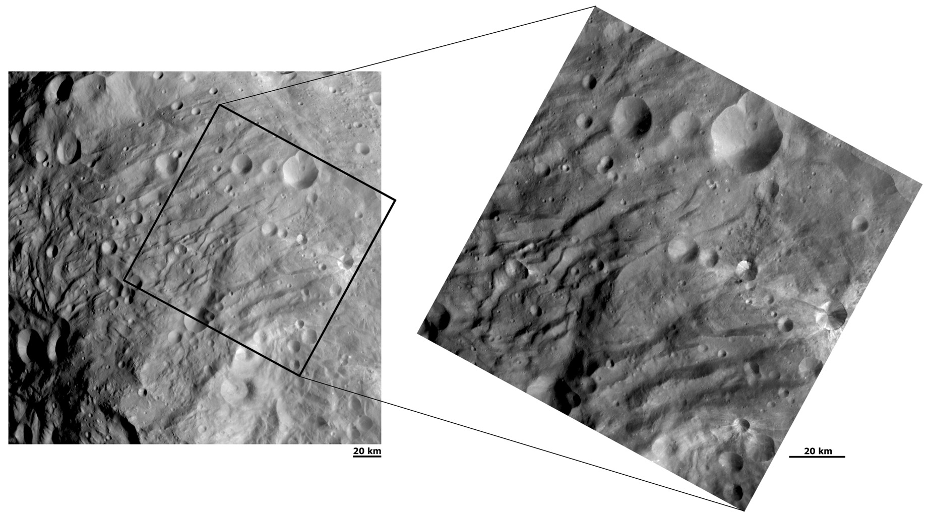 NASA's Dawn spacecraft obtained these images of asteroid Vesta on Aug. 28 (left) and Sept. 9, 2011. These images of the south polar region were taken at a distance of 1,700 miles (2,740 kilometers) with a resolution of about 260 and 130 meters per pixel.