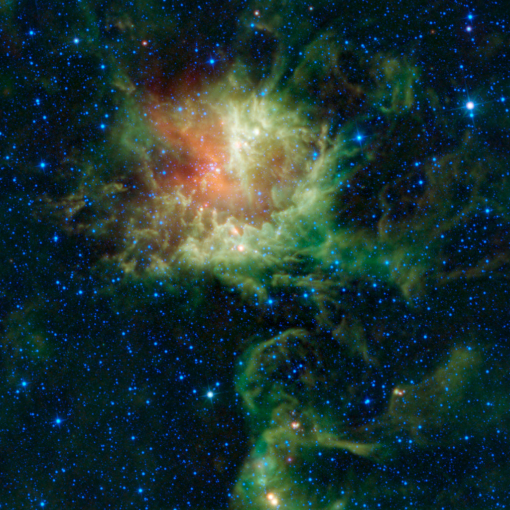NASA's Wide-field Infrared Survey Explorer observed the star-forming cloud NGC 281 in the constellation of Cassiopeia as it appears to be chomping through the cosmos, earning it the nickname the 'Pacman' nebula.