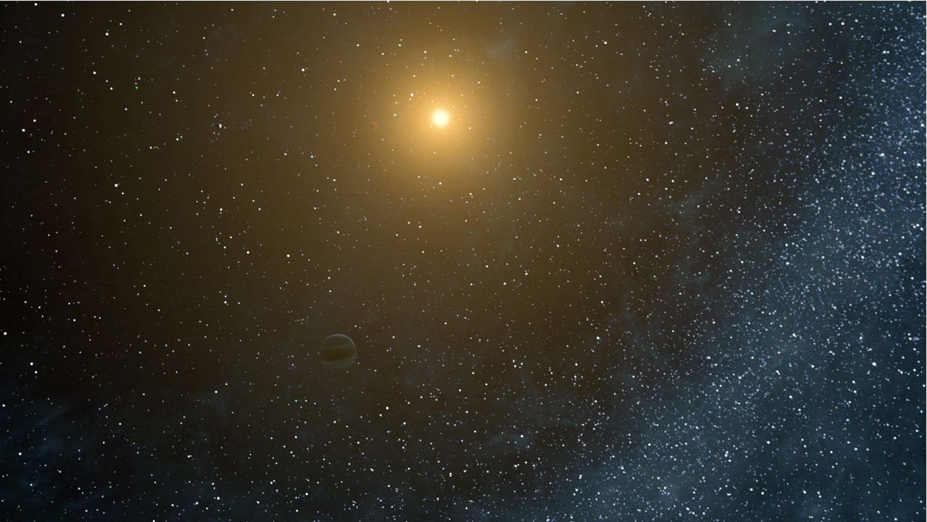 This still from an artist's animation flies through the Kepler-20 star system, where NASA's Kepler mission discovered the first Earth-size planets around a star beyond our own. The system is jam-packed with five planets.