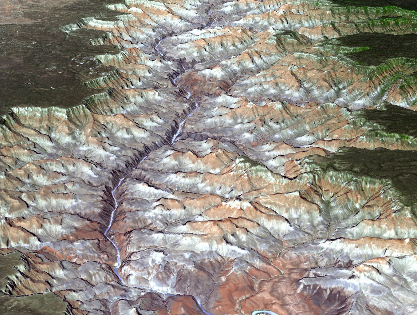 NASA's Terra spacecraft provided this view of the eastern part of Grand Canyon National Park in northern Arizona in this image on July 14, 2011. This view looks to the west, with tourist facilities of Grand Canyon Village visible in the upper left.