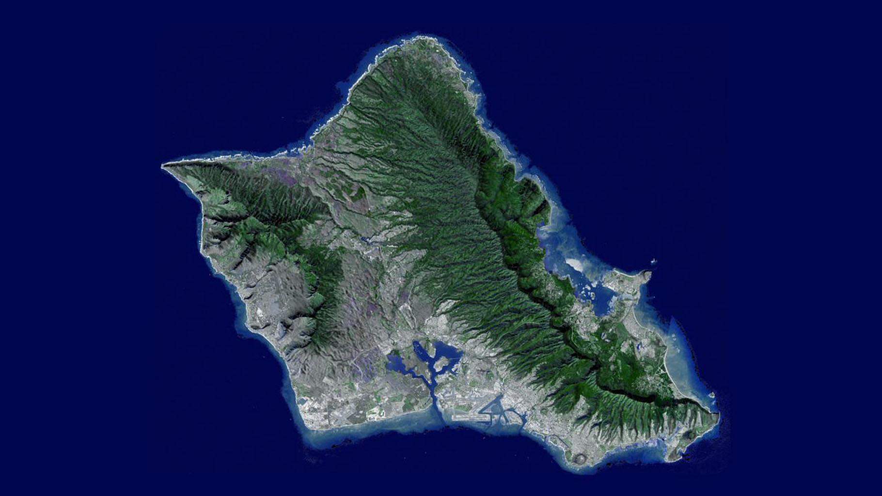 nasa flyover of oahu hawaii