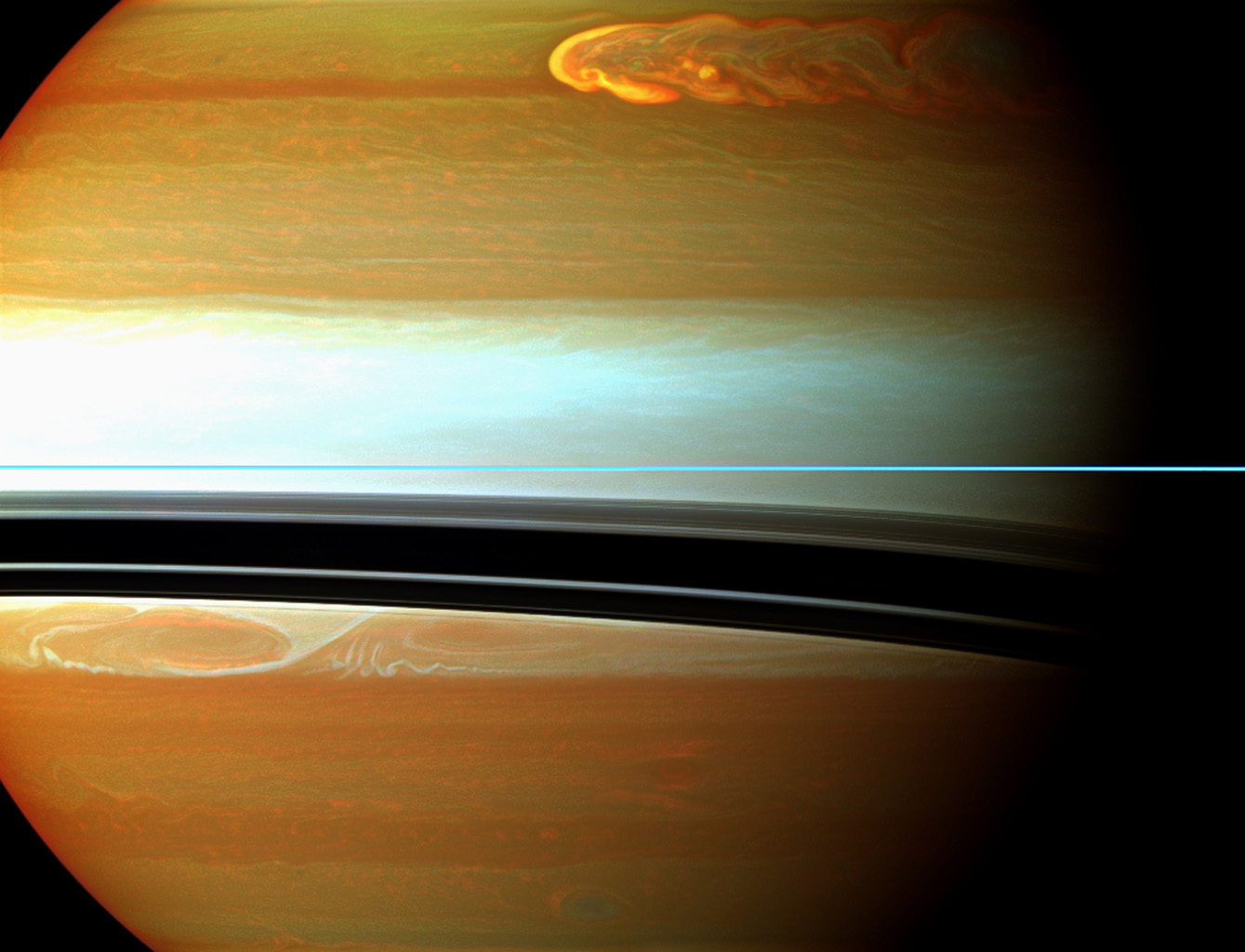 Saturn's northern storm marches through the planet's atmosphere in the top right of this false-color mosaic from NASA's Cassini spacecraft.
